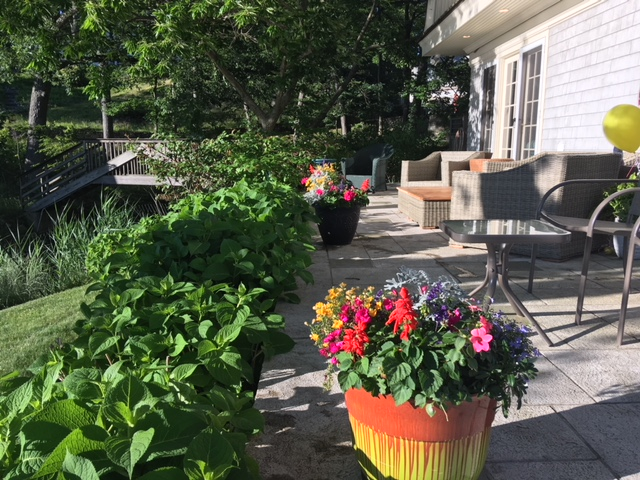 Containers added lots of color to the patio overlooking the Saugatuck River.