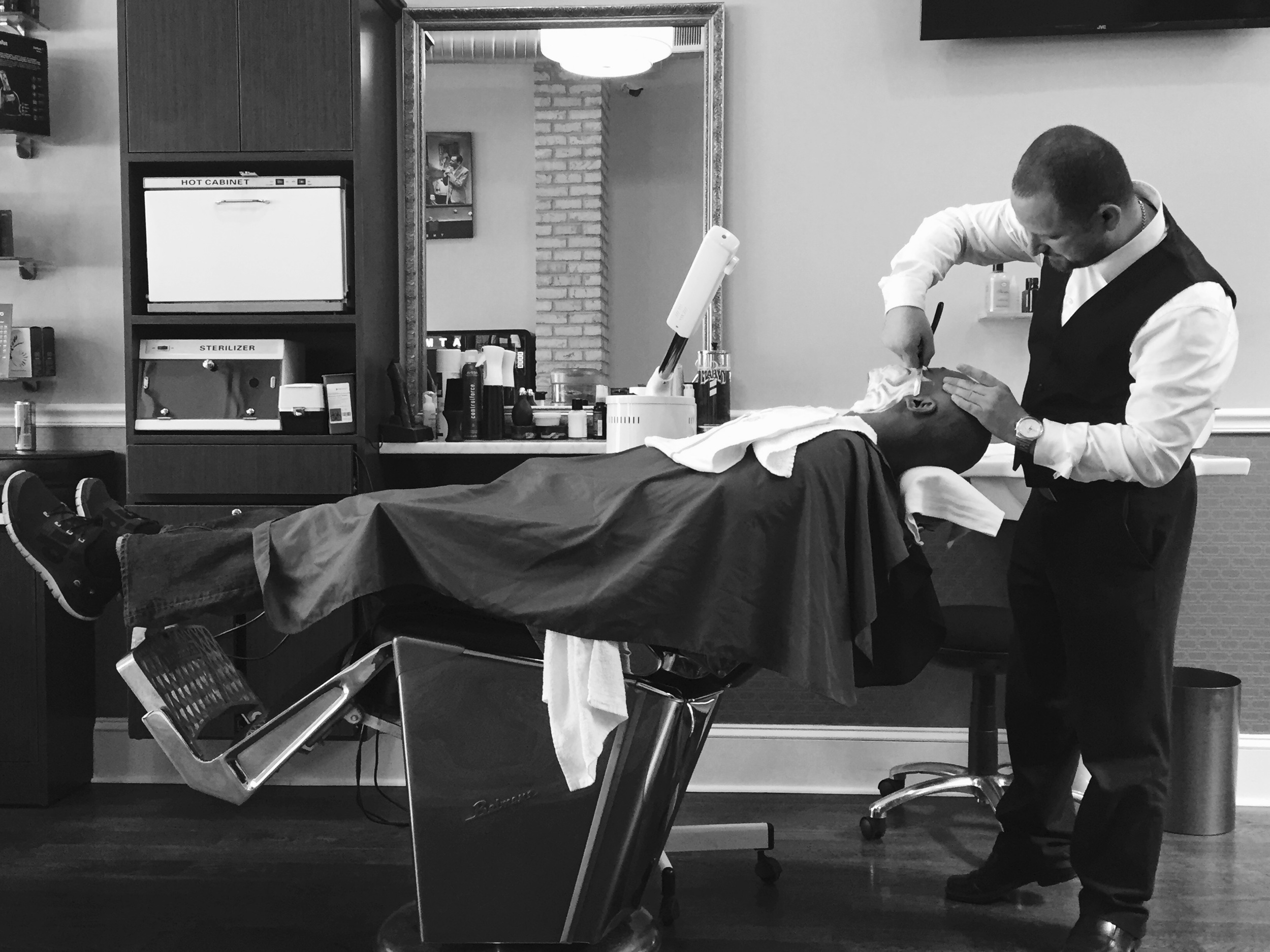 A warm, relaxing steam shave is a great escape from the cold!