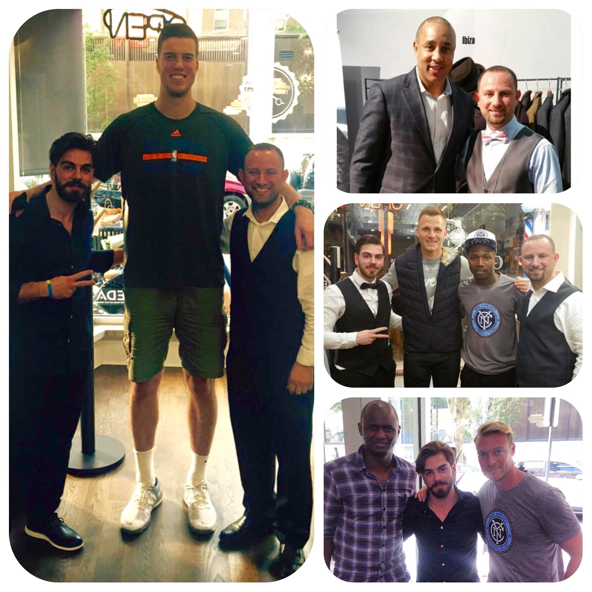 A collection of Knicks and NYCFC current and former players and coaches with the Master Barbers of Gentleman's Barber Spa