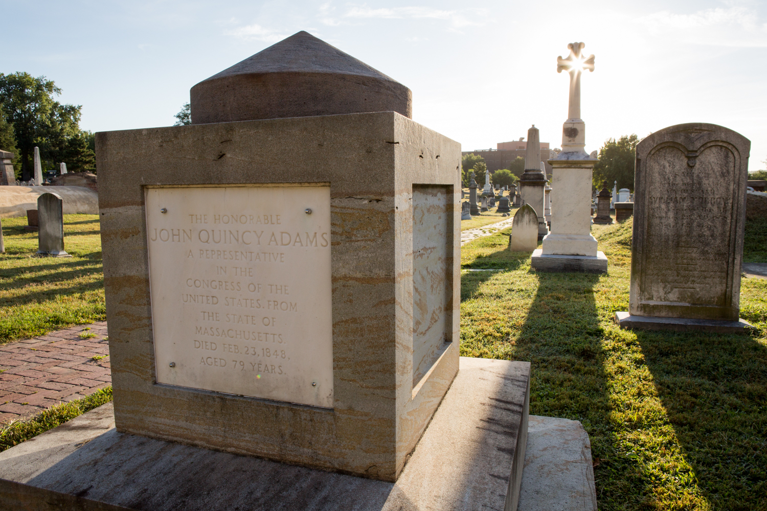 A cenotaph for John Quincy Adams is located in the Congressional Cemetery in Washington, D.C.