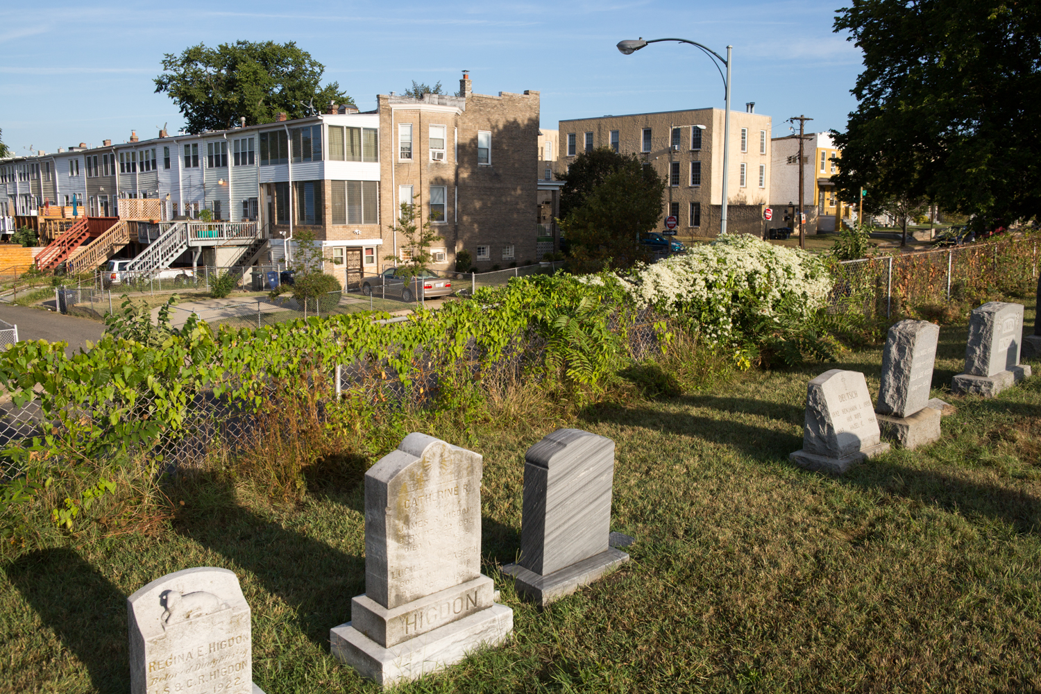 In Washington, D.C., the historic Congressional Cemetery is separated by a chain link fence along parts of 17th Street SE.