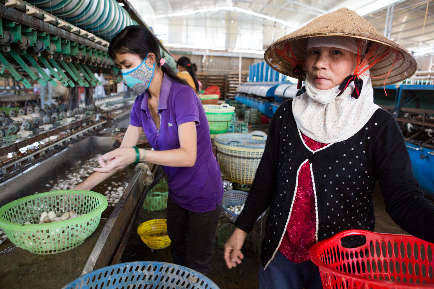 A woman pauses during her task of distributing silk worm cocoons at the Cung Hoan silk manufacturing facility outside Nam Ban, Vietnam.