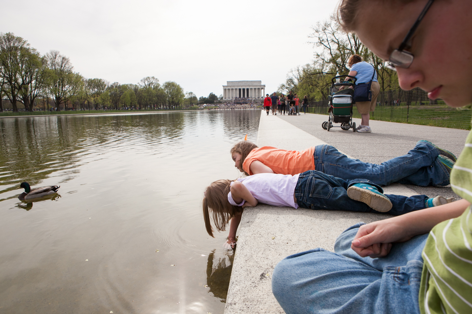 Playing in the Lincoln Memorial Reflecting Pool