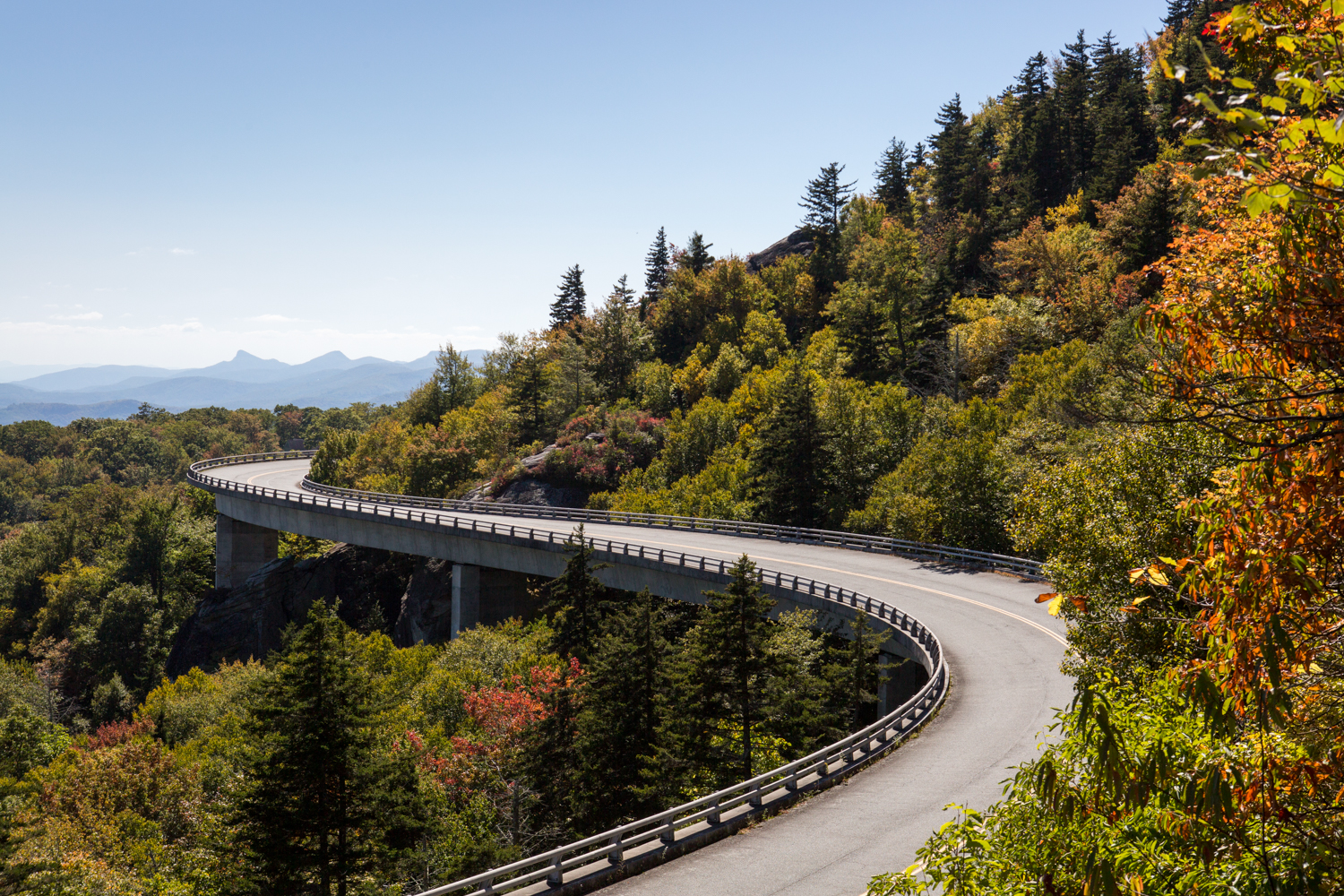 Landscape travel photography: Linn Cove Viaduct North Carolina Blue Ridge Parkway and Mountains