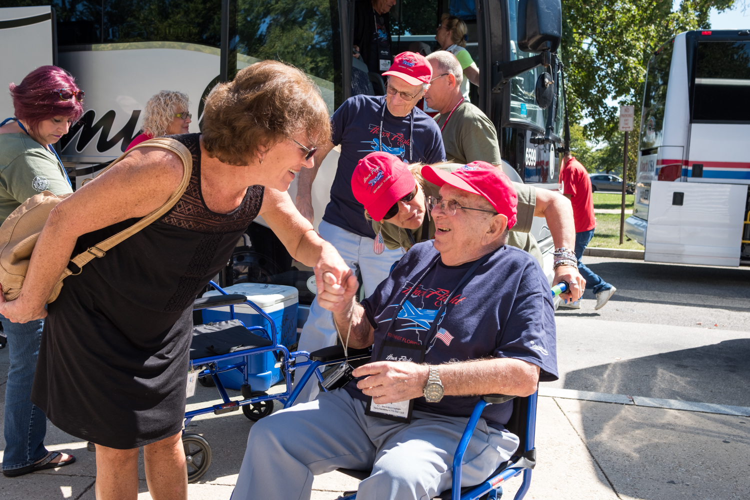 Veterans from Southeast Florida are greeted near the World War II Memorial during an Honor Flight event in Washington, D.C. Honor Flight is when veterans from around America visit the memorials on The National Mall.