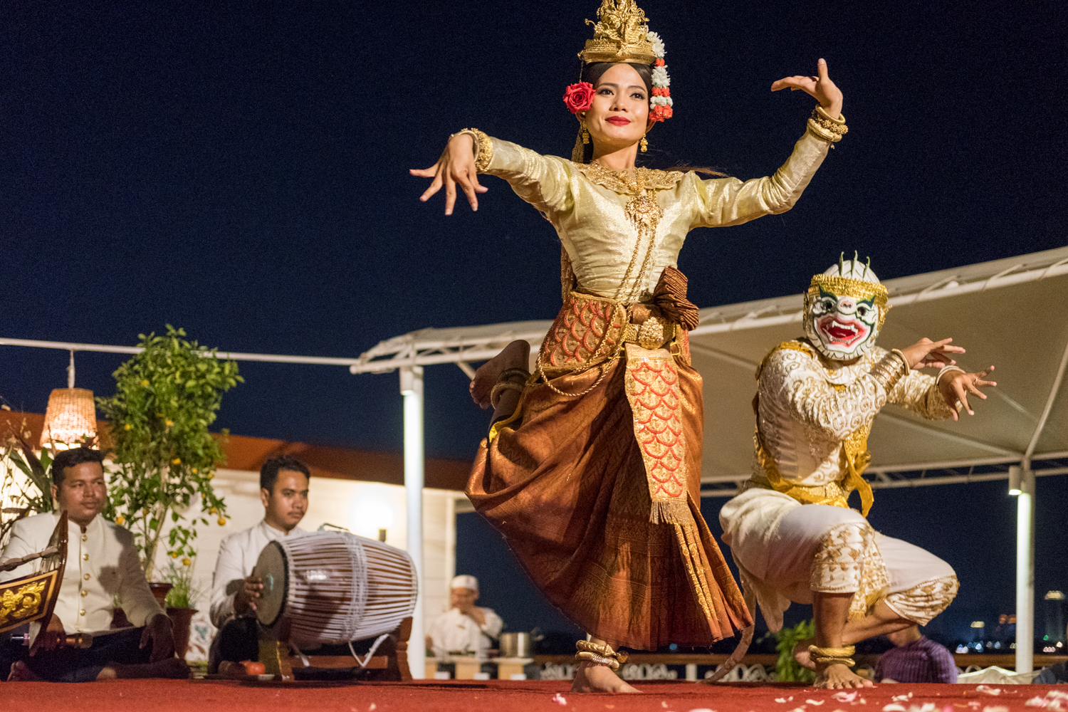 Apsara dancers perform the mermaid dance in Phnom Penh aboard The Jahan.