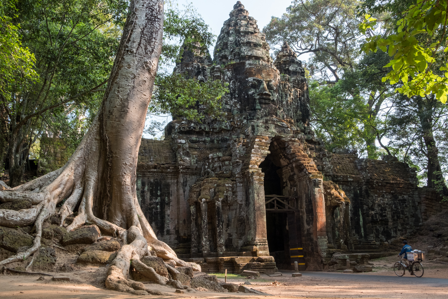 A cyclist rides through the majestic scenery and entrance gate to the Angkor temple complex.