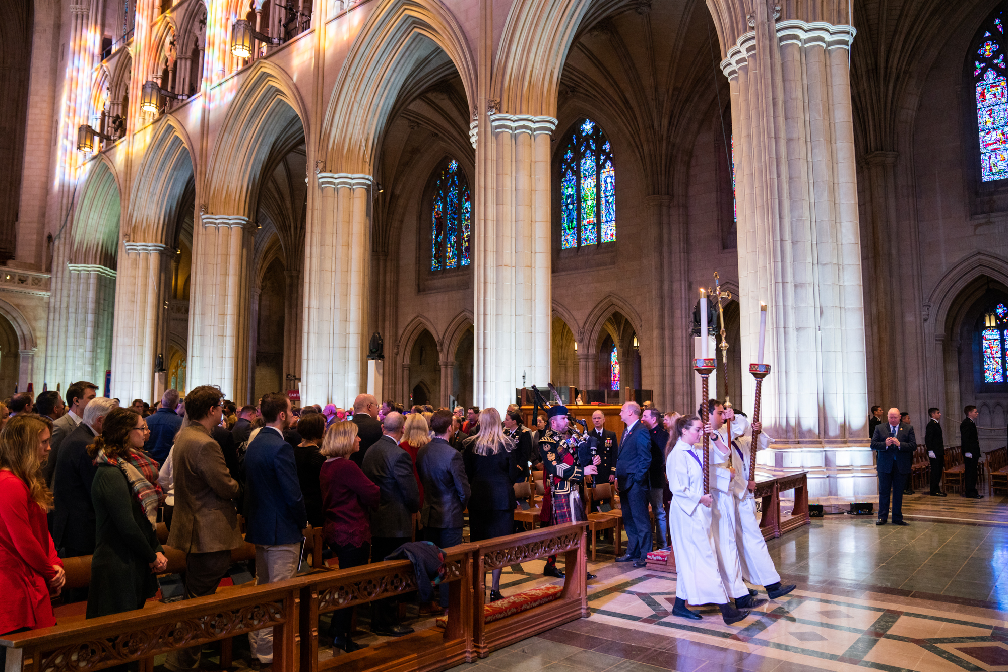 The procession through the cathedral commences the ceremony.