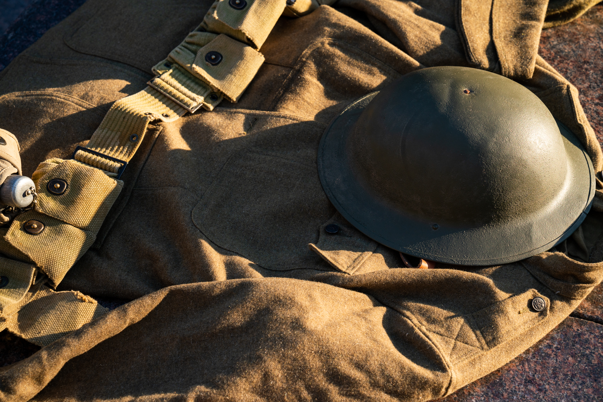 Uniforms from World War I American troops are on display in Pershing Park.