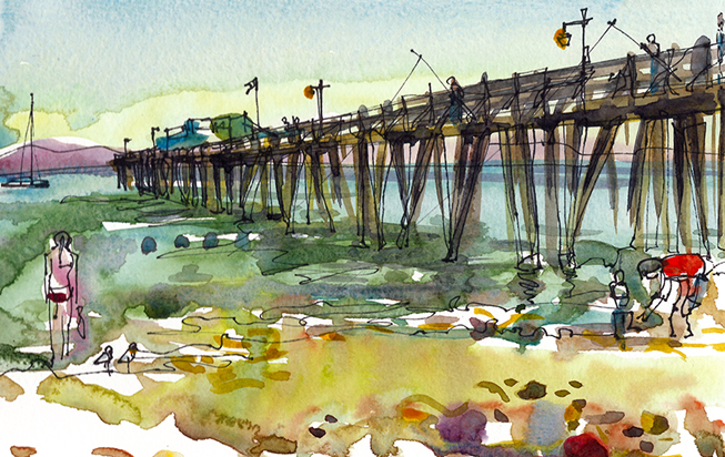 CAPITOLA BEACH PIER ,  CALIFORNIA, watercolor, pen & ink