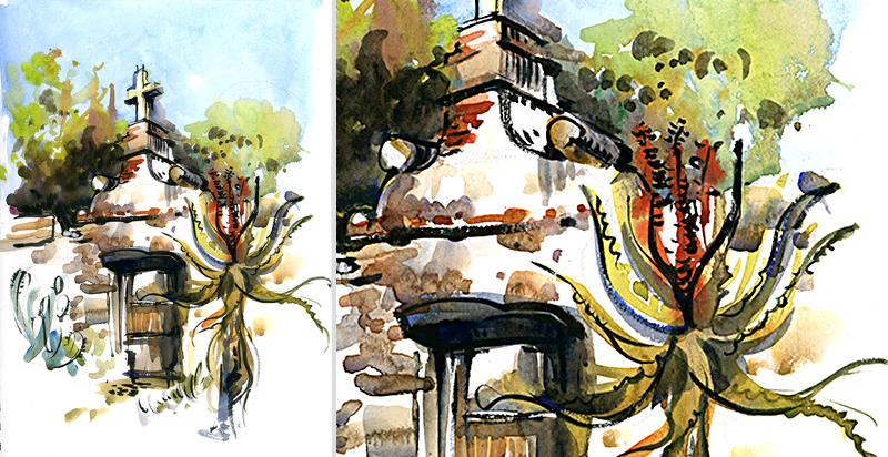 AT A MISSION ,  CALIFORNIA, watercolor, pen & ink