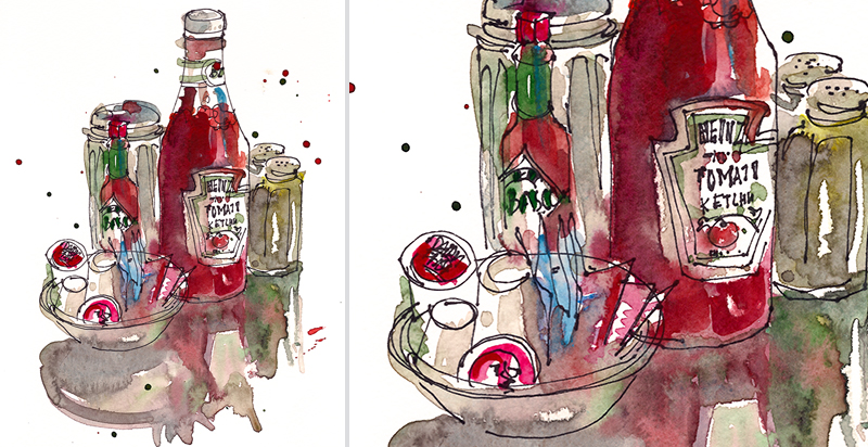 AT THE DINER, watercolor, pen & ink