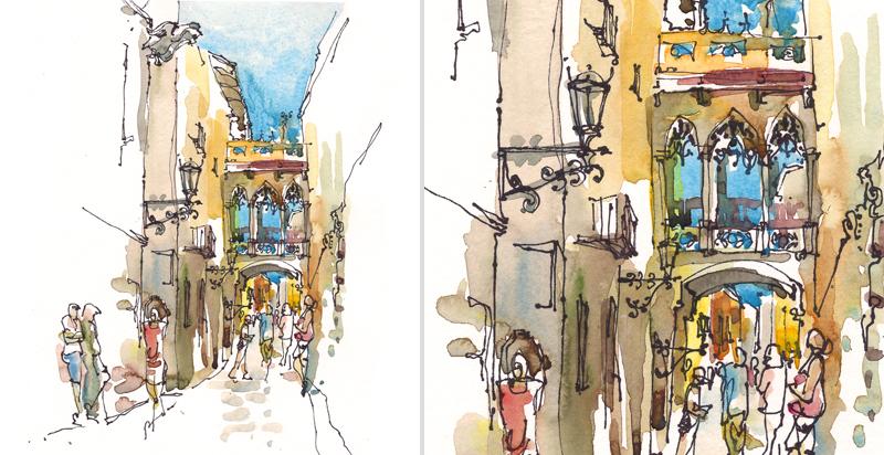 BARRI GOTIC,BARCELONA,  SPAIN, watercolor, pen & ink