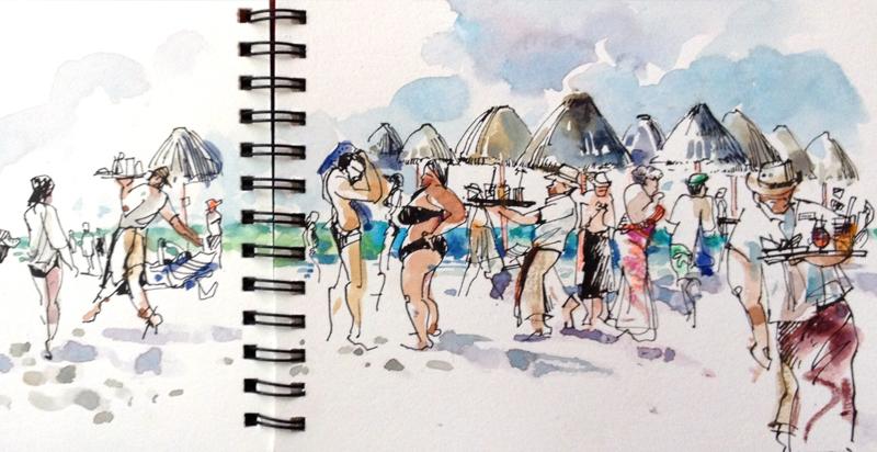 ISLA MUJERAS,  MEXICO, watercolor, pen & ink