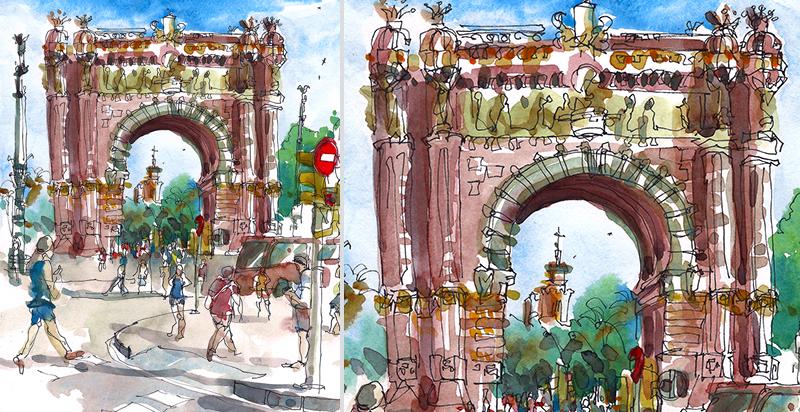 ARC DE TRIMMF, BARCELONA ,  SPAIN, watercolor, pen & ink