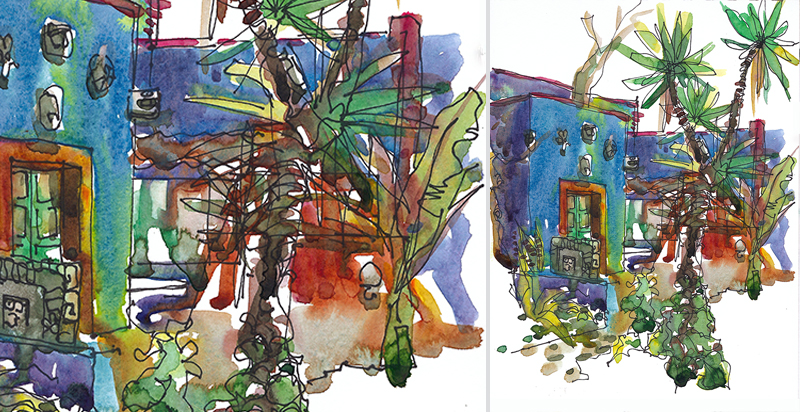 CASA AZUL ,  MEXICO, watercolor, pen & ink