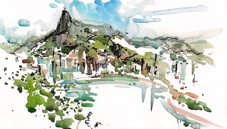 LOOKING OUT AT CHRIST THE REDEEMER IN RIO ,  BRAZIL, watercolor, pen & ink
