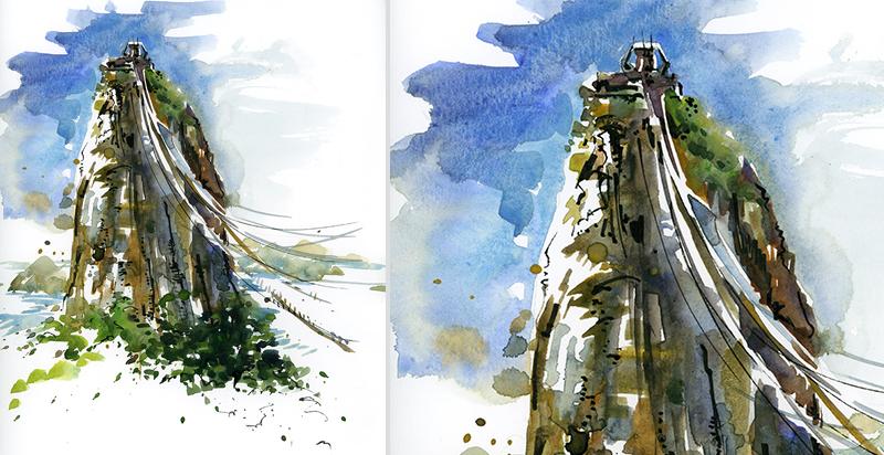 SUGARLOAF MOUNTAIN, RIO ,  BRAZIL, watercolor, pen & ink