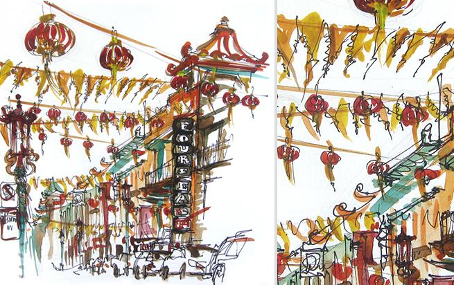 CHINATOWN,   SAN FRANCISCO ,  watercolor, pen & ink