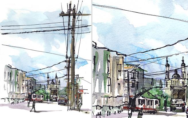 COLE VALLEY,  SAN FRANCISCO, watercolor, pen & ink