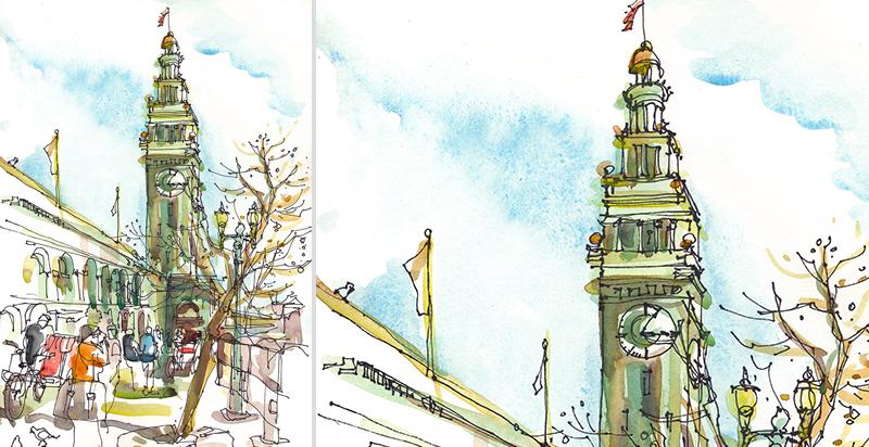 FERRY BUILDING,  SAN FRANCISCO, watercolor, pen & ink