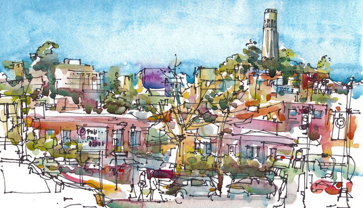 VIEW WITH COIT TOWER,  SAN FRANCISCO, watercolor, pen & ink