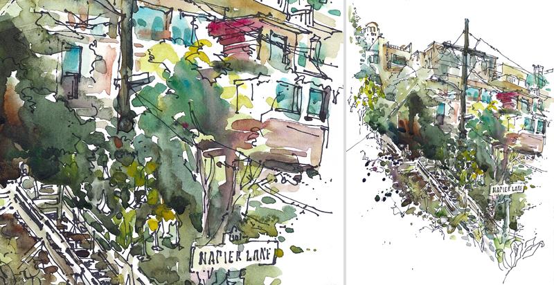 FILBERT STEPS   SAN FRANCISCO, watercolor, pen & ink