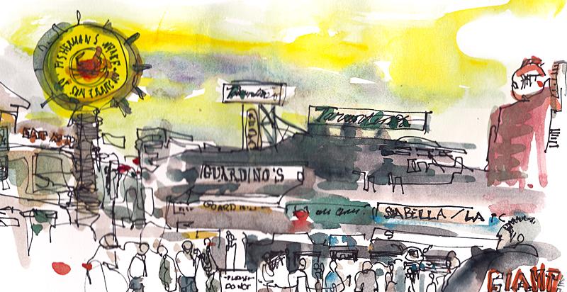 FISHERMAN'S WHARF,  SAN FRANCISCO, watercolor, pen & ink