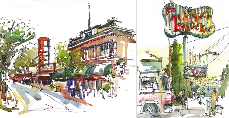 (L) GRANADA THEATER, (R) LIQUOR LOCKER,  VINTAGE SIGNAGE, SAN JOSE, CALIFORNIA,  watercolor, pen & ink