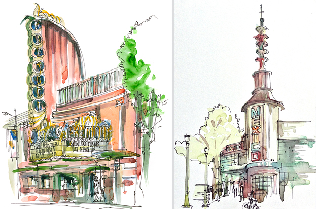 THEATER MARQUEES,  VINTAGE SIGNAGE,CALIFORNIA,  watercolor, pen & ink