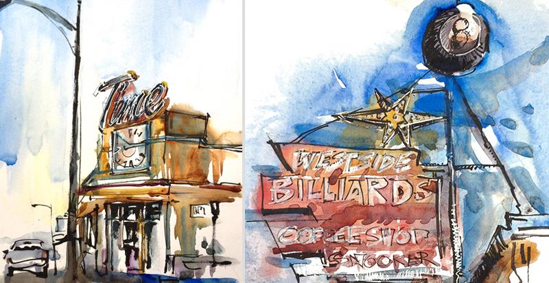 (L) TIME CAFE, (R) WESTSIDE BILLIARDS,  VINTAGE SIGNAGE, SAN JOSE, CALIFORNIA,  watercolor, pen & ink