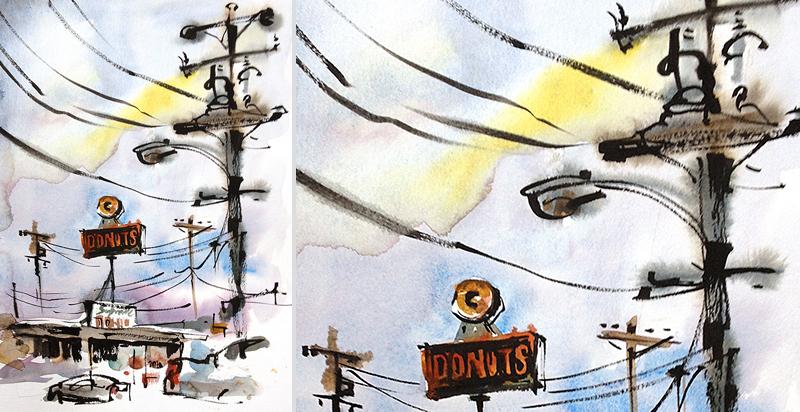 SPUTNIK DONUTS,  VINTAGE SIGNAGE, SAN JOSE, CALIFORNIA,  watercolor, pen & ink