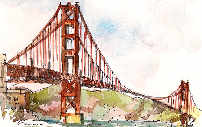 GOLDEN GATE BRIDGE,  SAN FRANCISCO, watercolor, pen & ink