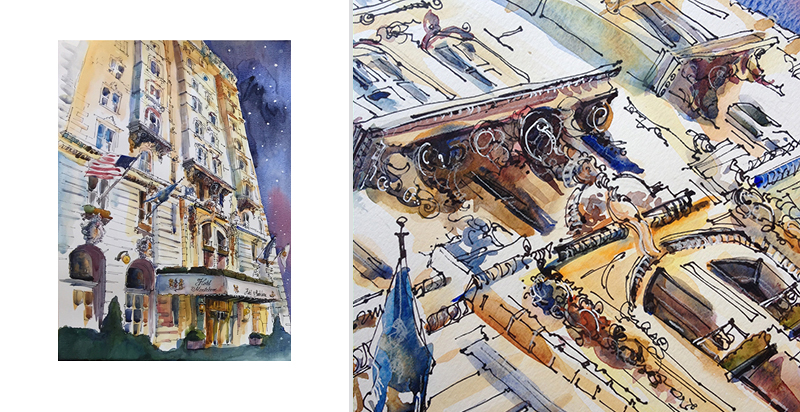 ARCHITECTURAL ILLUSTRATION AND DETAIL ,  HOTEL CHAIN IN NEW ORLEANS ,  Watercolor, pen & ink