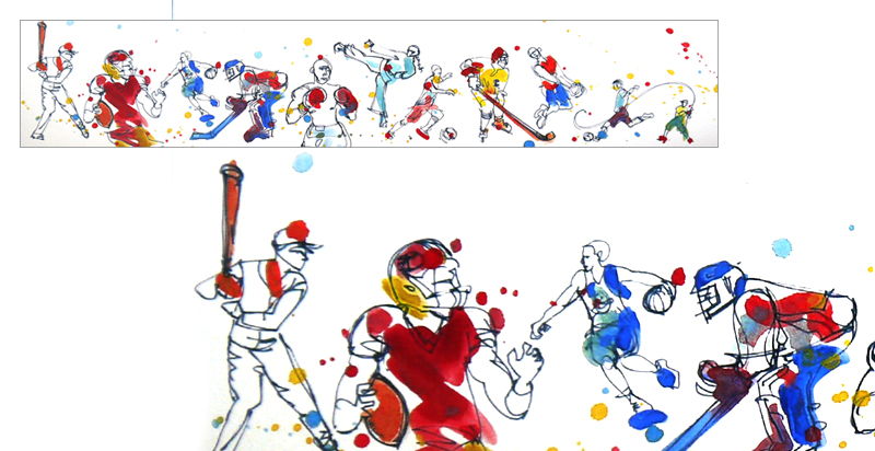"""ILLUSTRATION FOR ANNUAL FUNDRAISER """"For the Love of Sport"""" , GILROY FOUNDATION , Created for Articulate Solutions, Inc., Gilroy, California"""