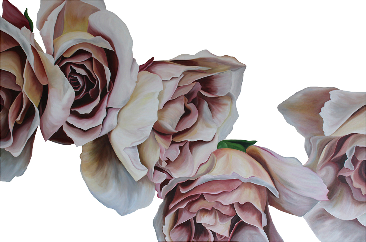 CARAMEL ROSES  150X100CM  ACRYLIC ON CANVAS  PRIVATE COMMISSION