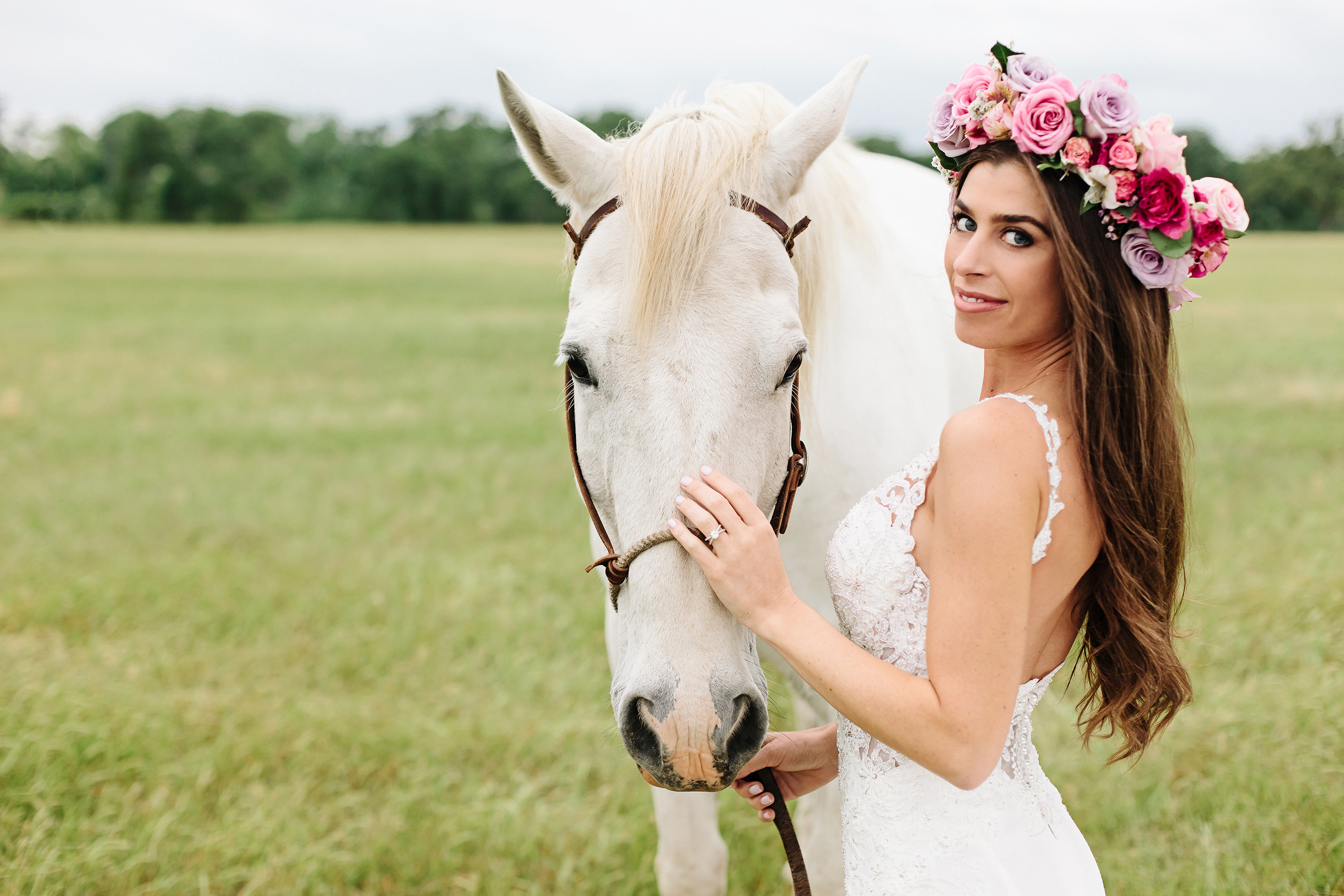 Bride with White Horse and Flower Crown | Cassie Schott Photography