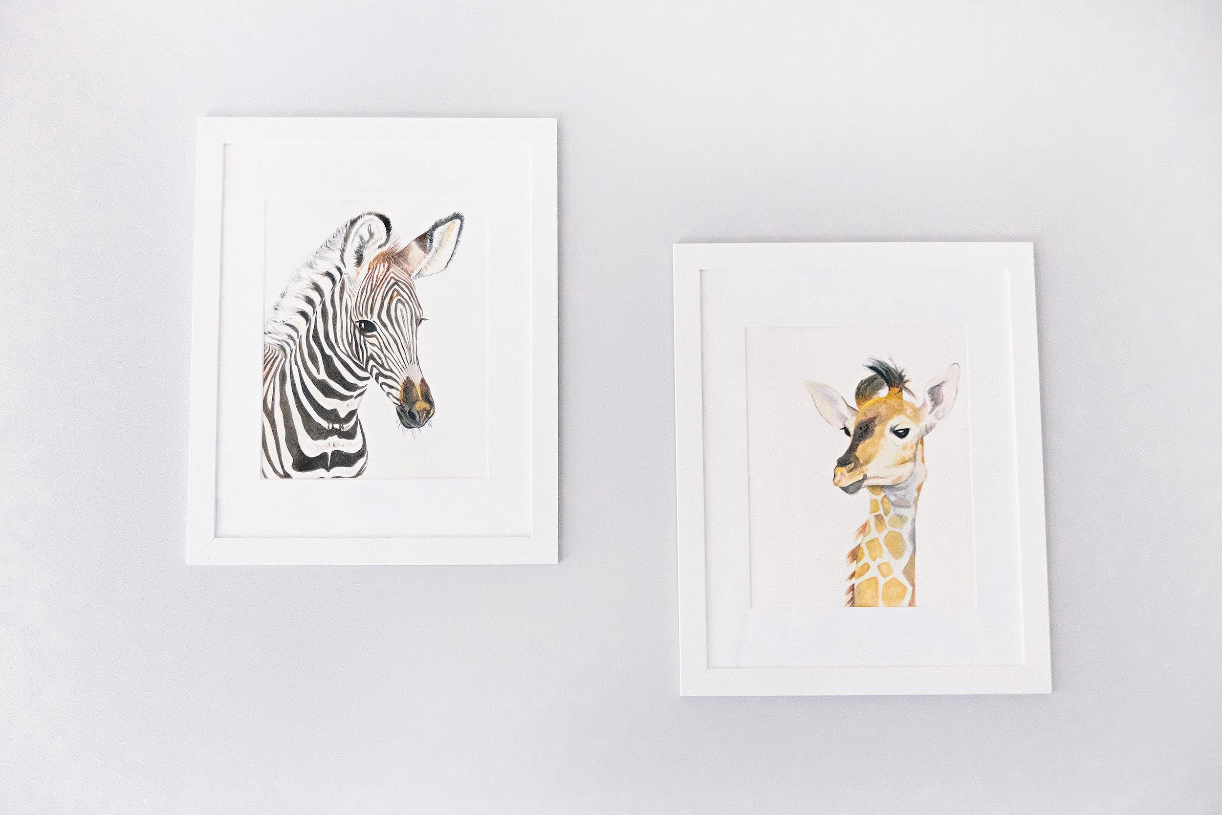 Zebra & Giraffe Baby Animal Nursery Art Prints | Photo by Cassie Schott Photography