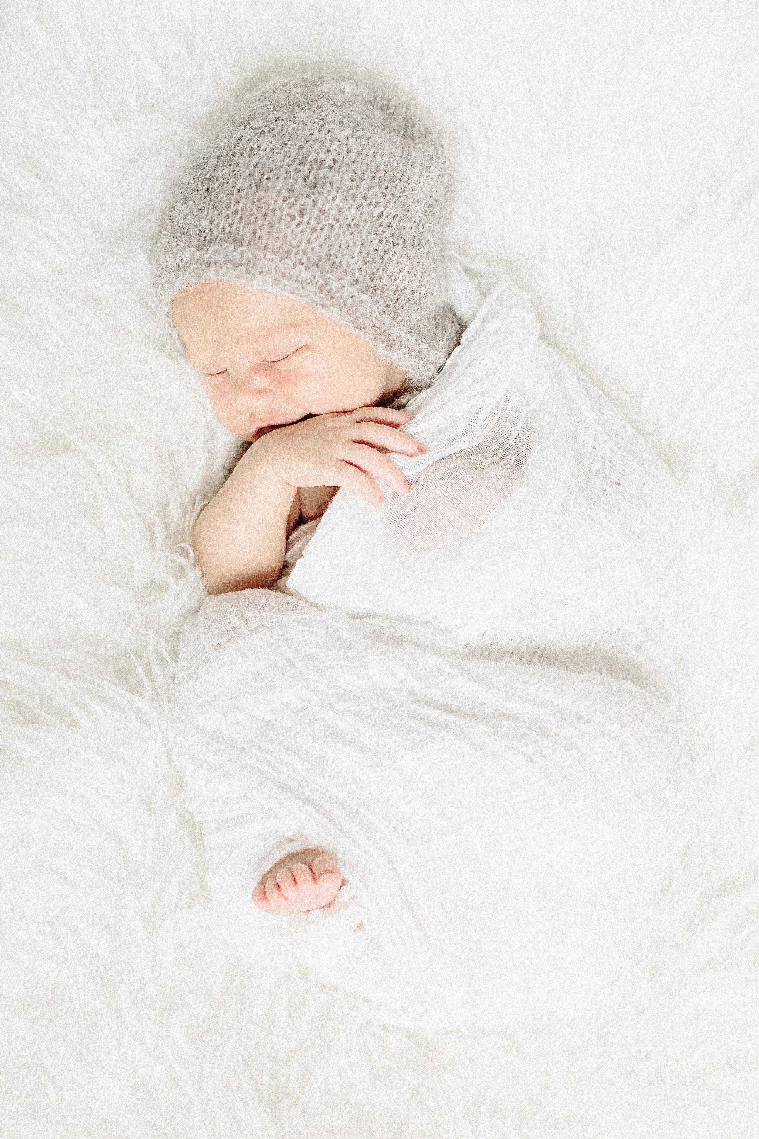 Sleeping Baby in Gray Knit Hat | Cassie Schott Photography