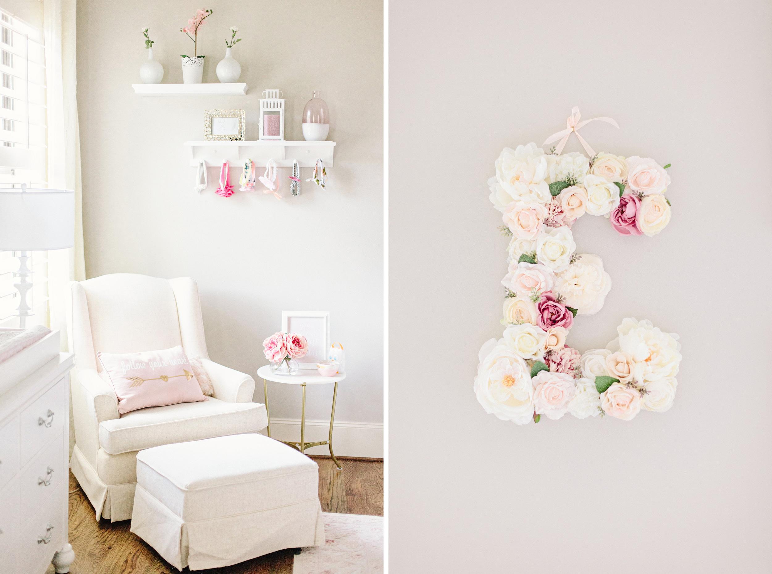 Houston Lifestyle Newborn Photography_Nursery Inspiration_Glider Chair_Flower Letter