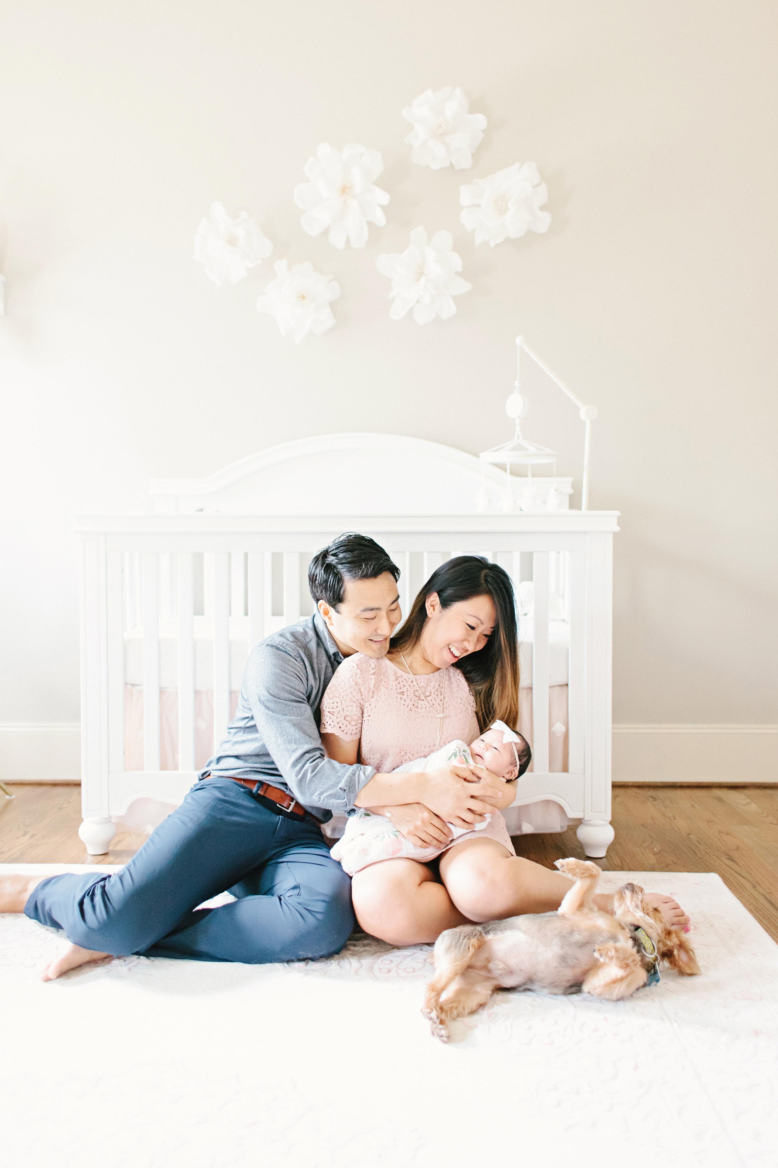 Houston Lifestyle Newborn Photography_Nursery Inspiration_Crib_Paper Flowers
