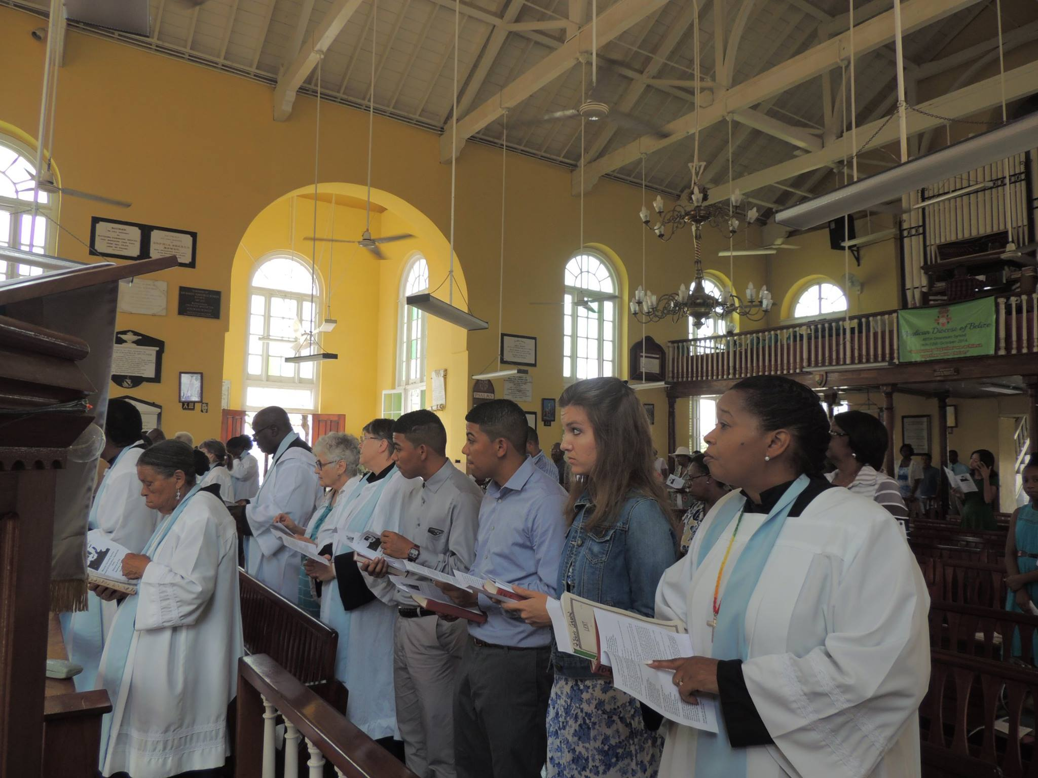 Mary Beth and the other Lay Ministers at St. John's Cathedral in Belize City.