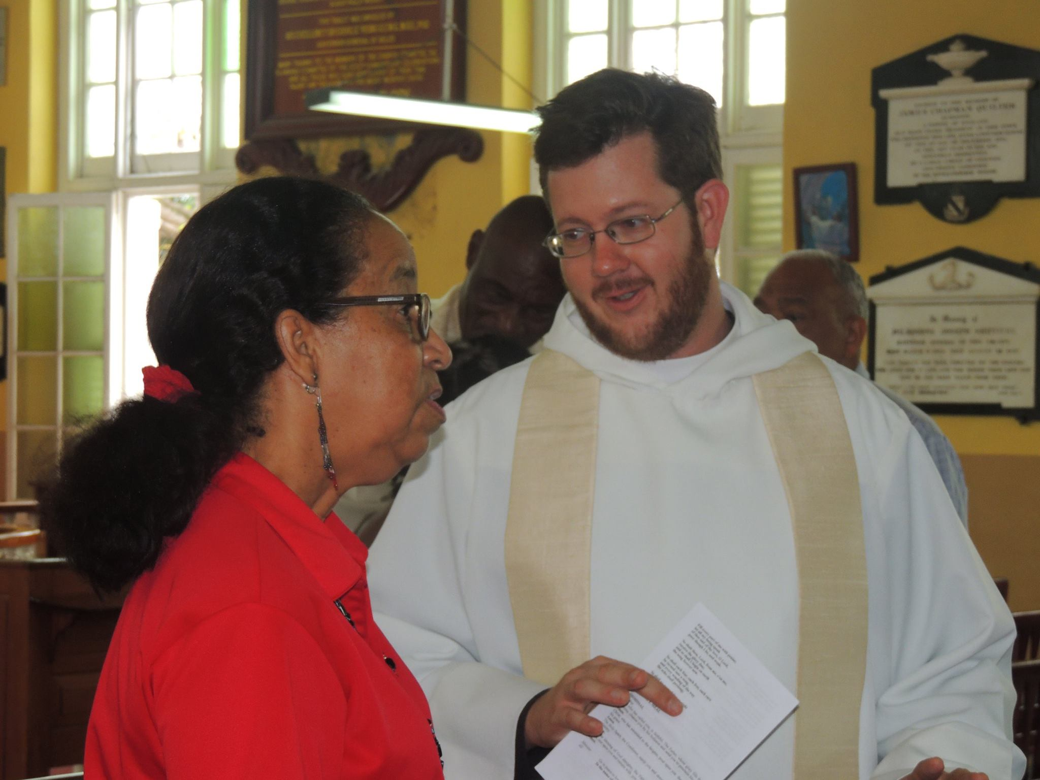 I'm talking shop with the Diocese's General Manager of schools just before breaking for the Easter holiday.
