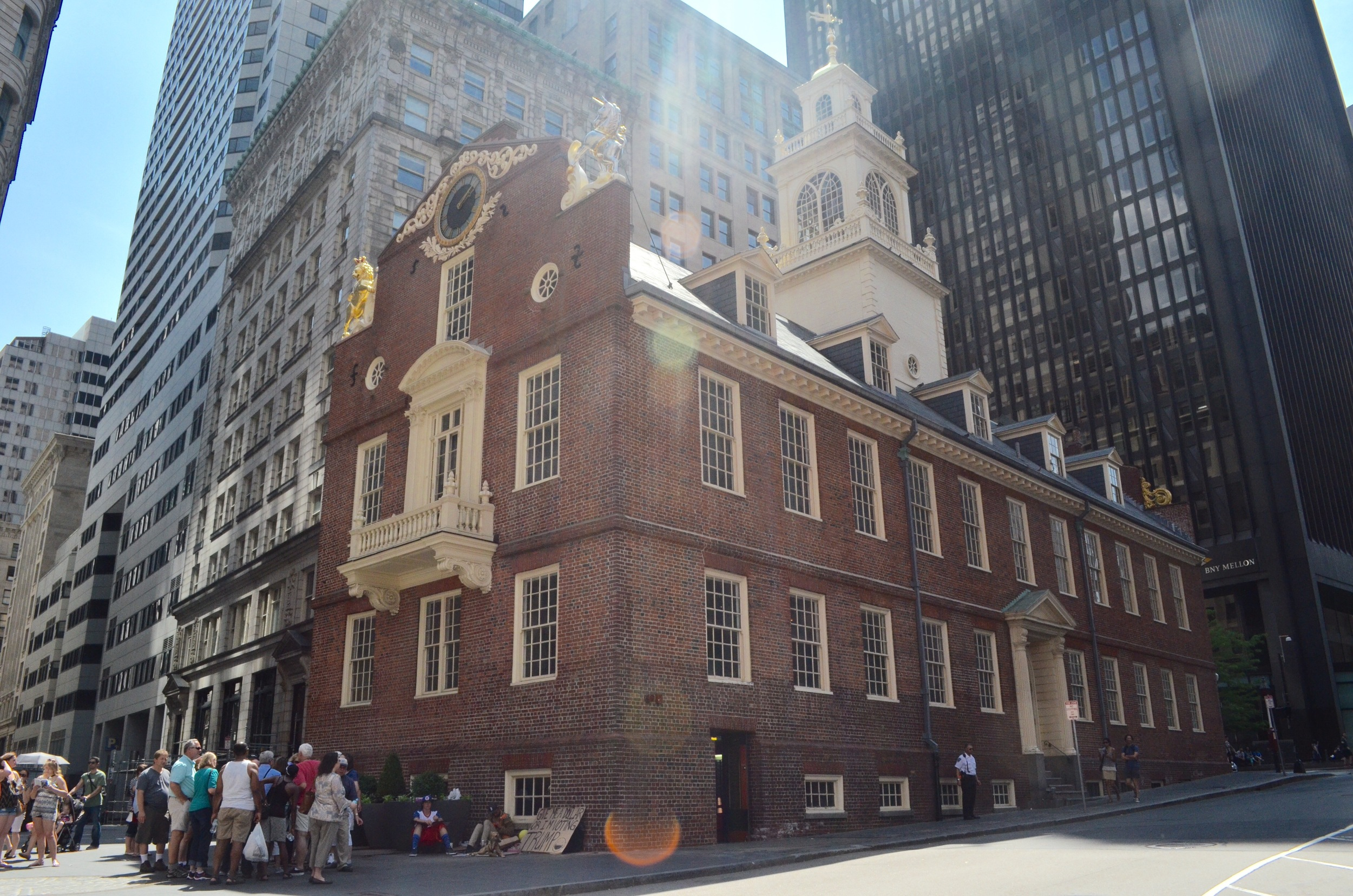 Above is the former State House and the square in front of it is the site of the Boston Massacre.