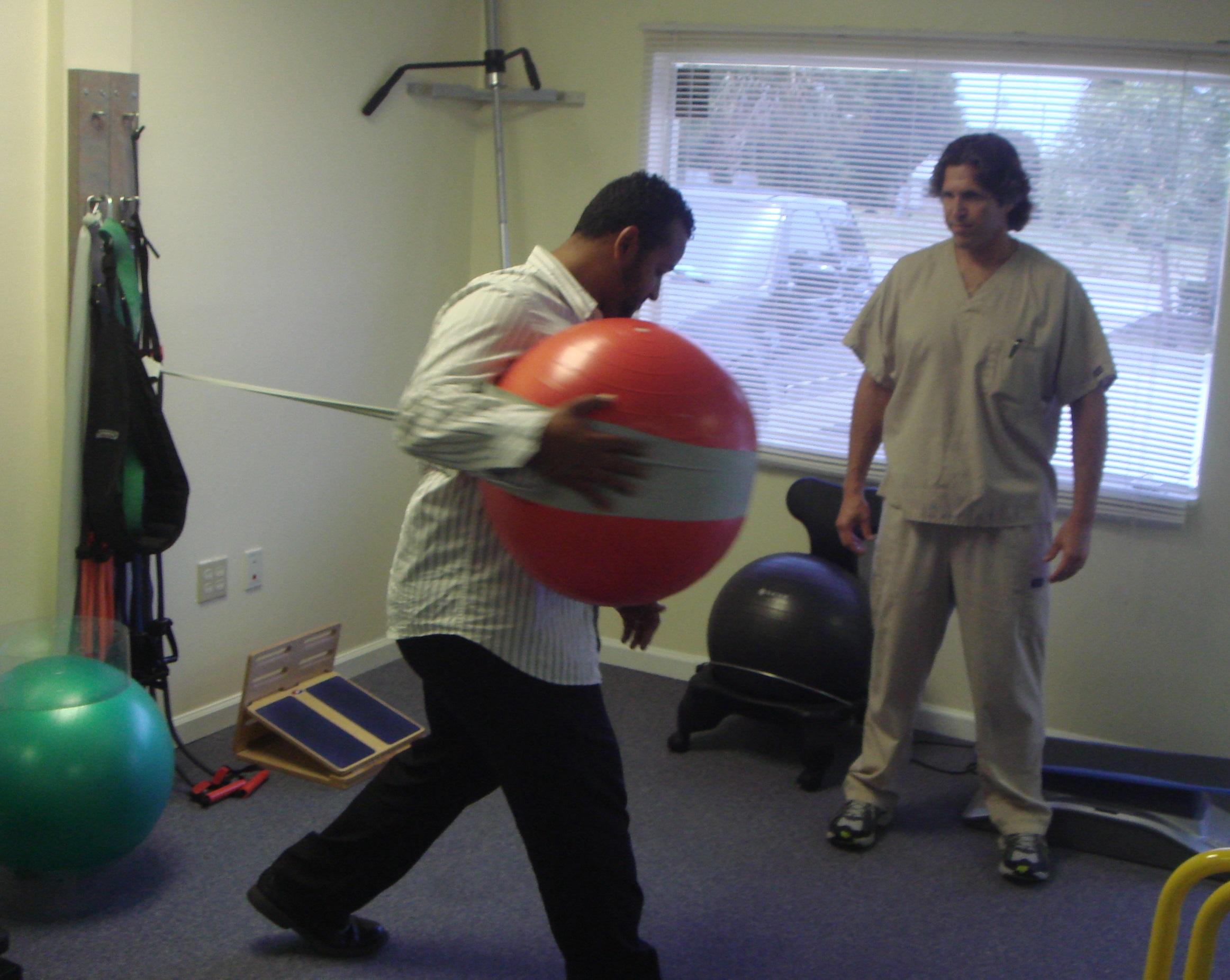 Medicine ball workout exercise.