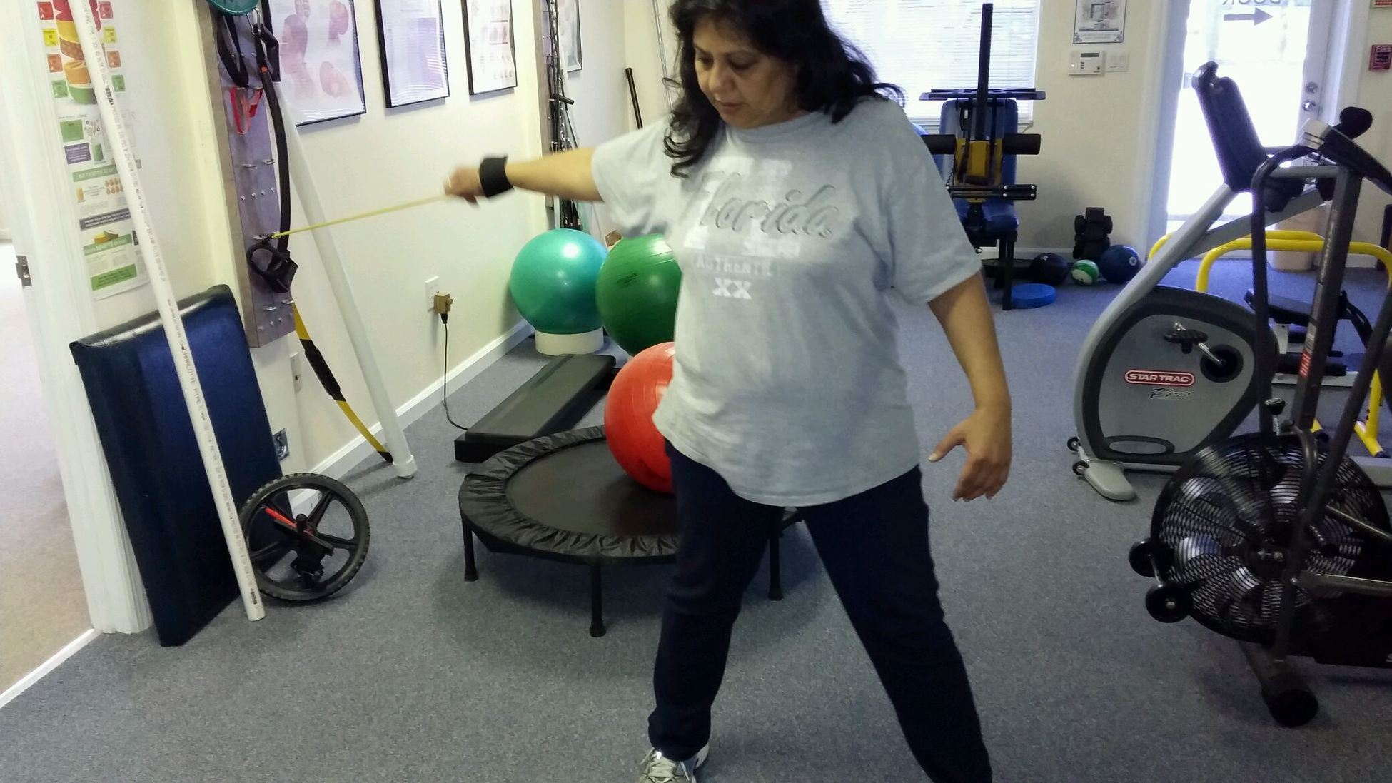 Resistance band exercise for rotator cuff