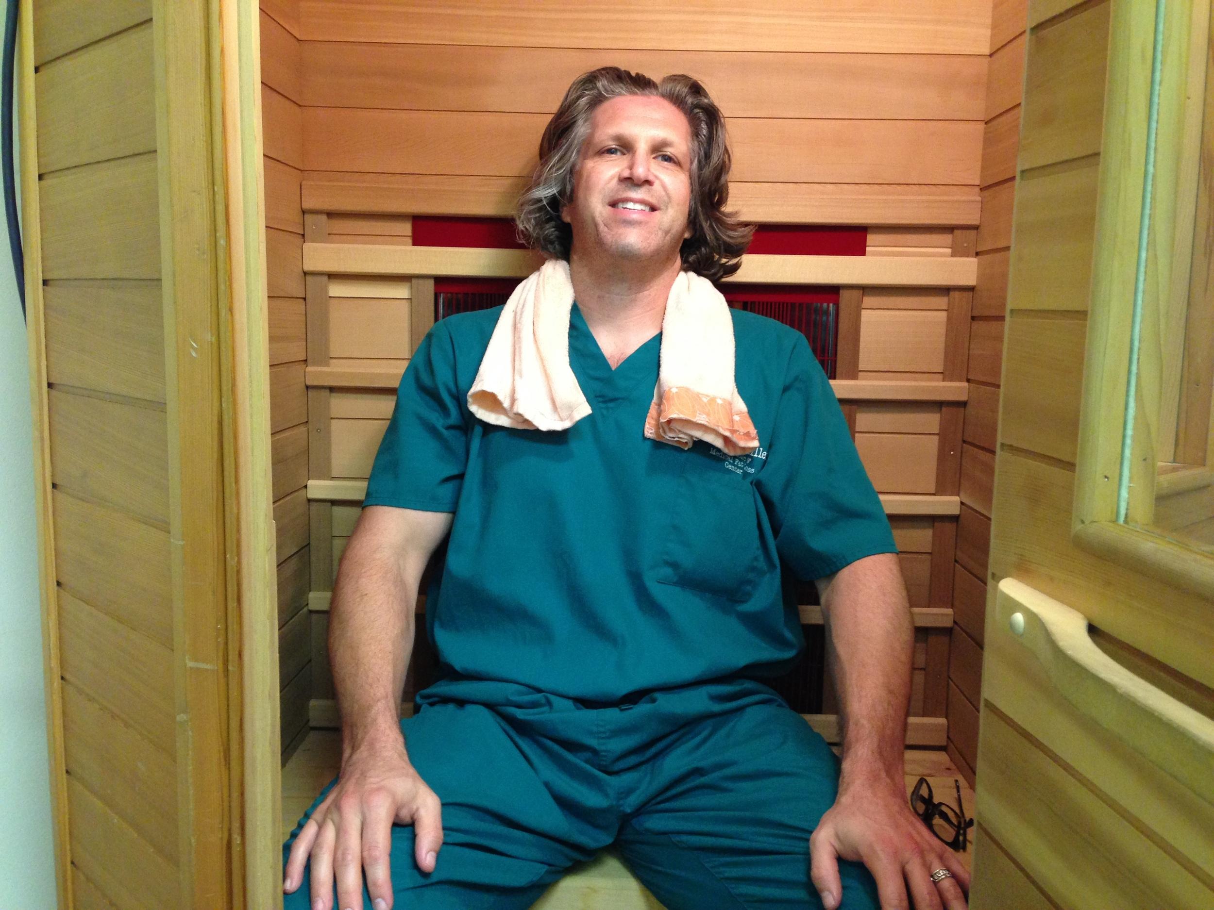 Dr. Miller in his sauna.