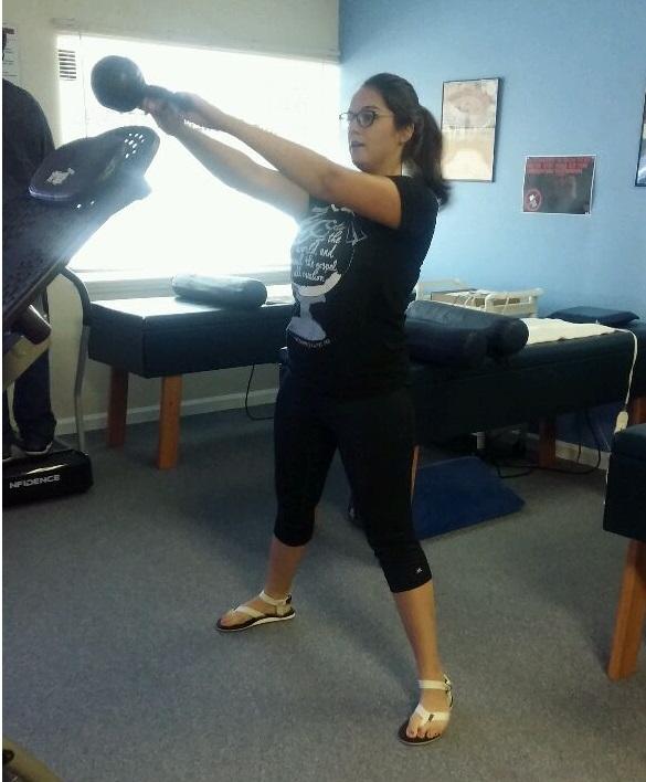 Kettlebell swing for core strength.