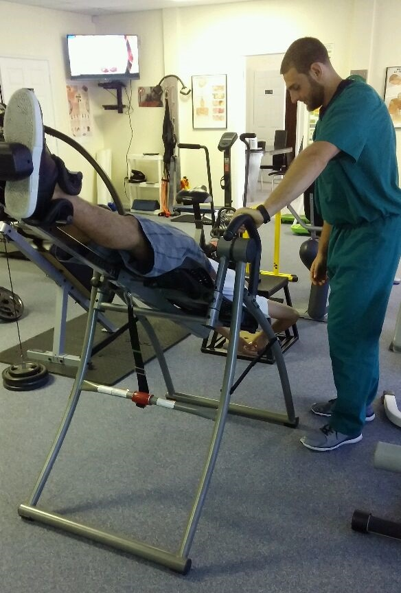 Nothing eases tightness like inversion table therapy.