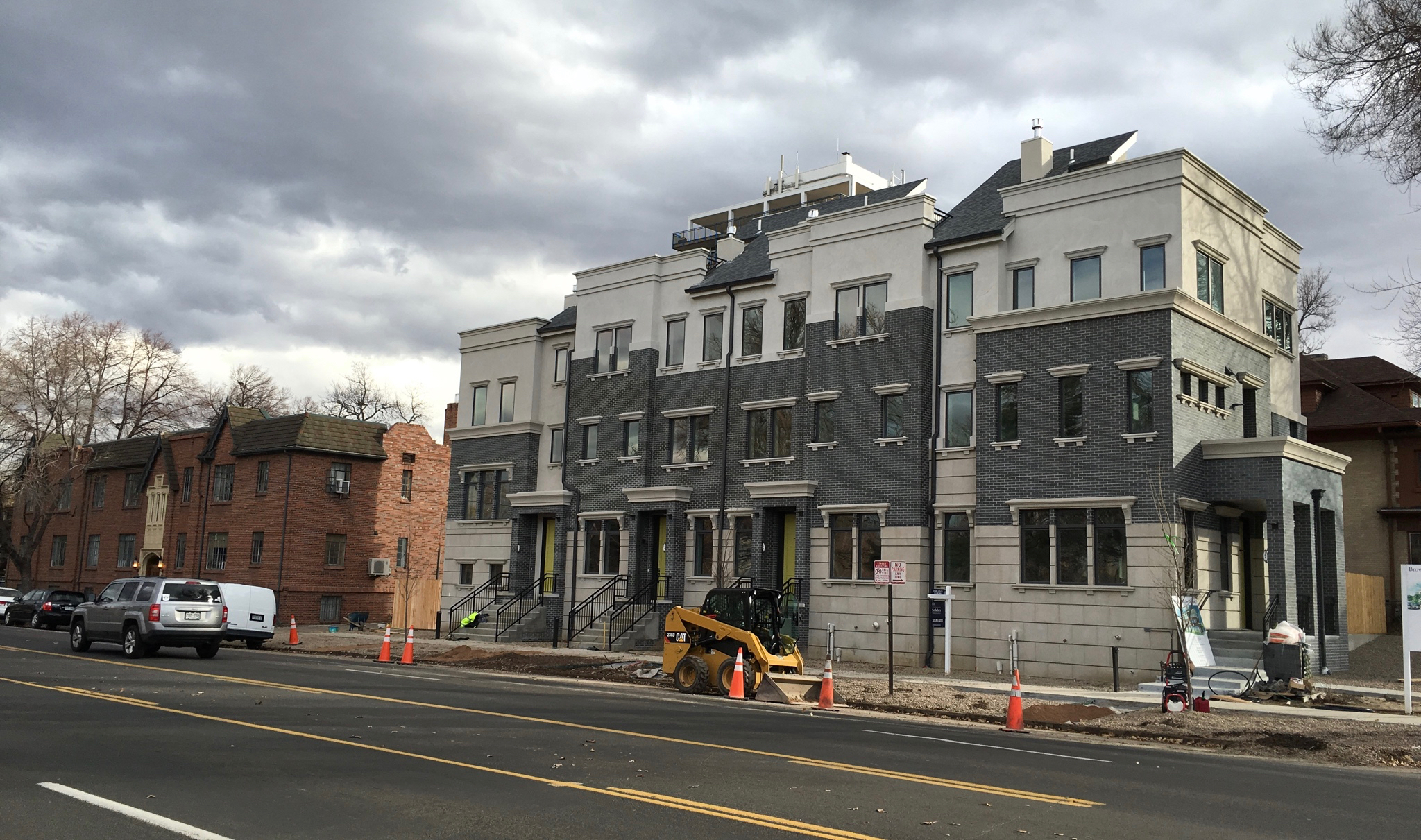 Streetscape with new row houses